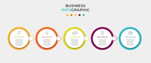 Biznesowy szablon projektu infografika z ikonami i 5 opcjami lub krokami
