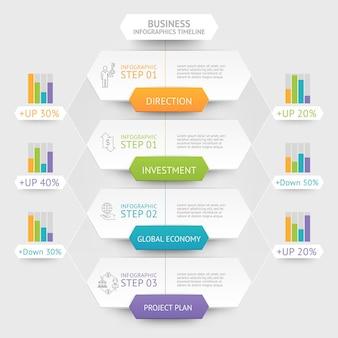Biznesowy sześciokąt infografiki szablon