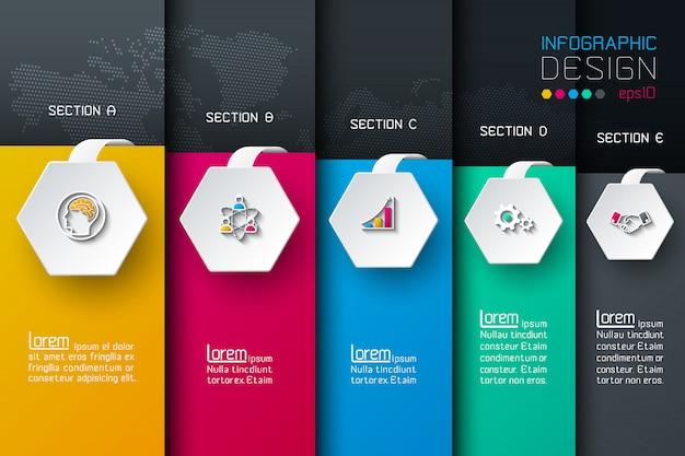 Biznesowy sześciokąt sieci etykietek kształta infographic.