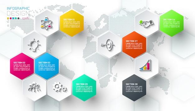 Biznesowy sześciokąt sieci etykietki kształta infographic bar.