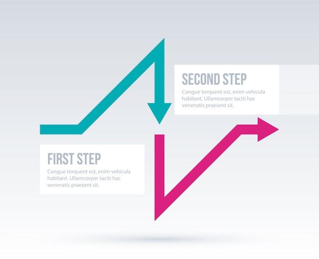 Biznesowy układ strzałek z dwoma krokami