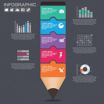 Biznesowy układ szablonu infografiki z ilustracją kreatywnego kolorowego ołówka.
