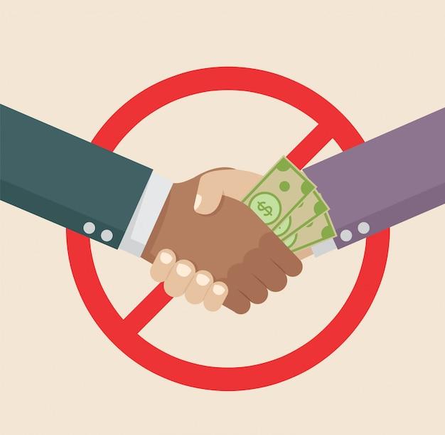 Biznesowy uścisk dłoni z korupcją.
