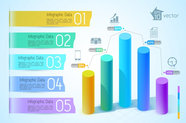 Biznesowy wykres i infografiki z kolorowymi kolumnami 3d ikony pięciu kroków na jasnej ilustracji