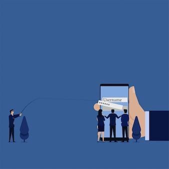 Biznesowy złodziej wyciąga hasło z telefonicznej metafory phishingu i hakowania.