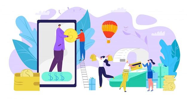 Biznesowy zwrot gotówki na smartfonie, płatność gotówką ilustracja. klienci finansowi korzystają z transakcji płatności mobilnych. transfer monet do postaci ludzi za pomocą aplikacji handlowej, koncepcja elektroniczna.