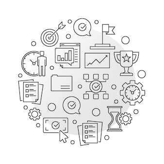 Biznesowych celów round ikony ilustracja w cienkim kreskowym stylu