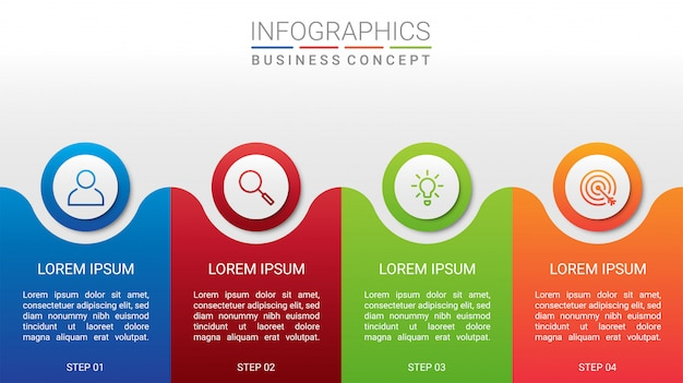 Biznesowych dane unaocznienie, infographic szablon z 4 krokami na szarym tle, ilustracja