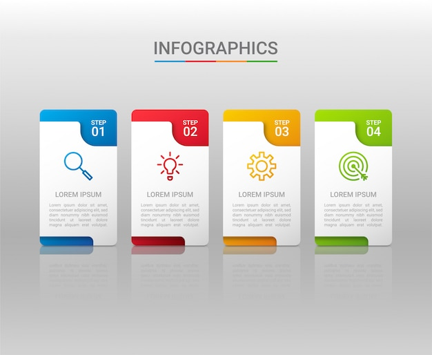 Biznesowych dane unaocznienie, infographic szablon z krokami na szarym tle, ilustracja