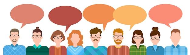Biznesowych kreskówek grupy ludzi mówić