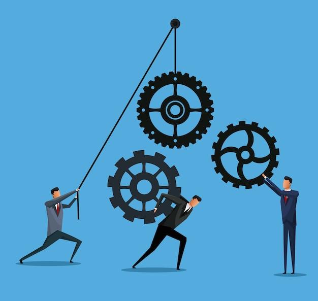 Biznesowych mężczyzna współpracy przekładni drużyny pracy przewożenie