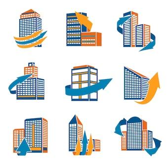 Biznesowych nowoczesnych budynków biurowych miejskich ze strzałkami ikony izolowane wektorowe ilustracji