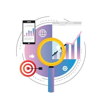 Biznesowych wykresów statystyk ilustracja. analiza danych biznesowych, analiza seo