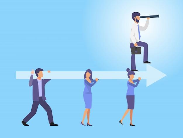 Biznesu mienia drużynowa strzała z lider ilustracją. ludzie biznesu trzymają dużą strzałę z wiodącą osobą.