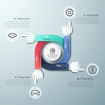 Biznesu ręk pracy zespołowej infographics szablon