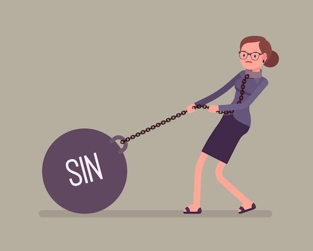 Bizneswoman ciągnie ciężar grzech na łańcuchu