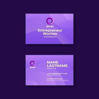 Bizneswoman dwustronna pozioma wizytówka szablon