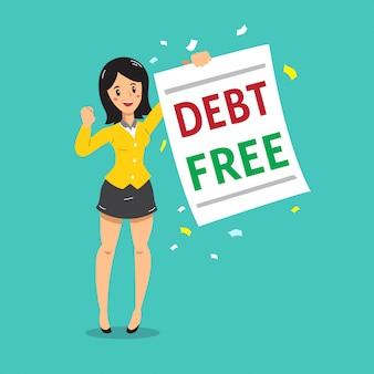 Bizneswoman kreskówka z długu bezpłatny list