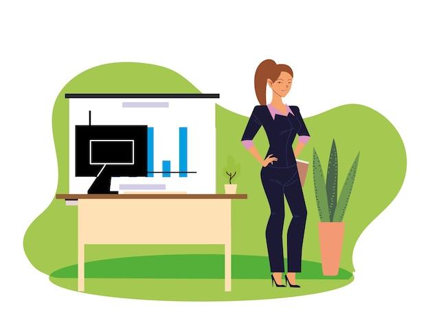 Bizneswoman kreskówka z komputerem na biurku i plansza projektowania, moda biznesowa i temat zarządzania