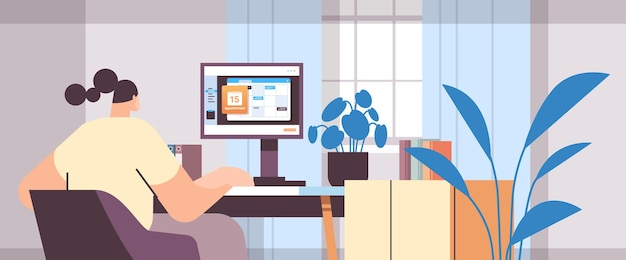 Bizneswoman planowania dnia planowania spotkania w kalendarzu na monitorze zarządzanie czasem na ekranie