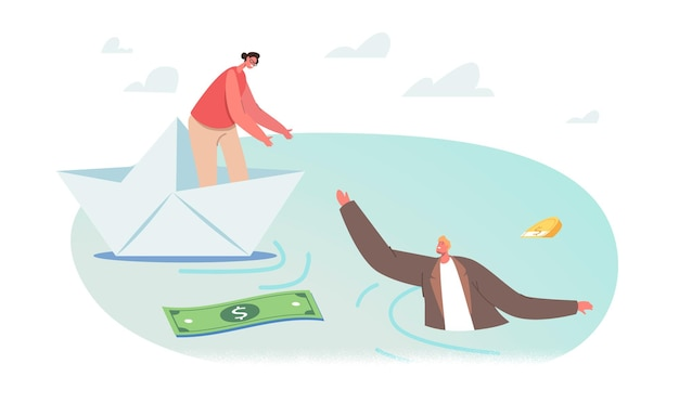 Bizneswoman postać na papierowym statku podająca dłoń tonącemu biznesmenowi w wodzie z rozproszonymi banknotami dolarowymi i monetami