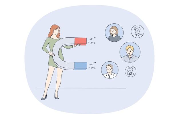 Bizneswoman postać z kreskówki stojący z magnesem