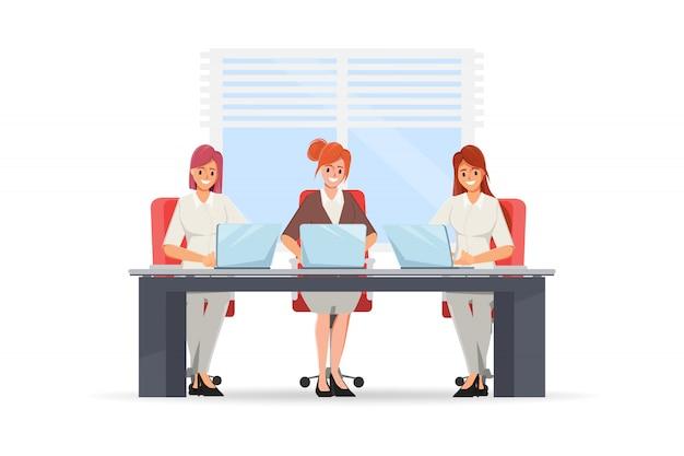 Bizneswoman pracuje z laptopem. grupa znaków pracy zespołowej.