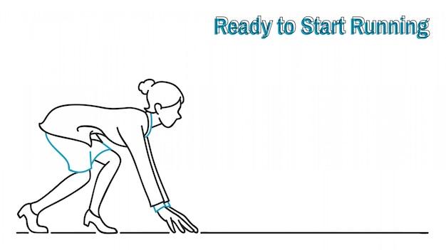 Bizneswoman przygotowywający zaczynać biegać