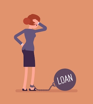Bizneswoman przykuty łańcuchem pożyczki