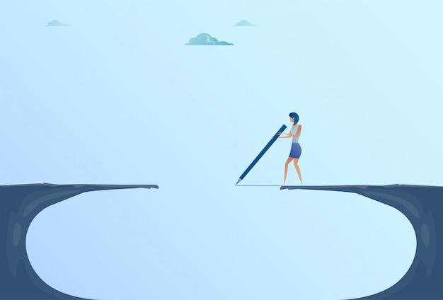 Bizneswoman rysunku most chodzi nad cliff gap halnym biznesowym kobiety ryzyka pojęciem