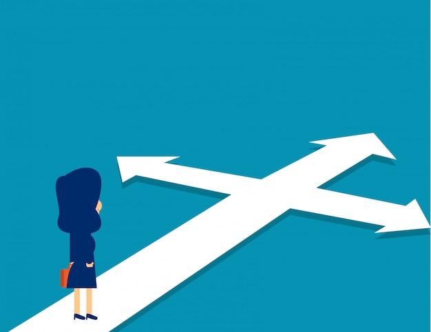 Bizneswoman stoi zmieszanego kierunek