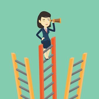 Bizneswoman szuka okazji biznesowych.