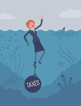 Bizneswoman tonący przykuty ciężarem podatki
