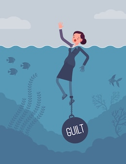 Bizneswoman tonący przykuty ciężarem winy