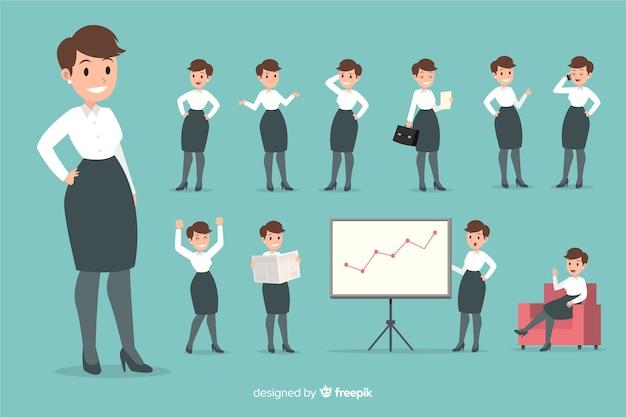 Bizneswoman ustawiający z różnymi pozami