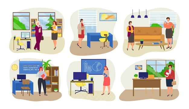 Bizneswoman w biurze zestaw ilustracji wektorowych kobieta charakter praca w korporacyjnym biznesie firma i...