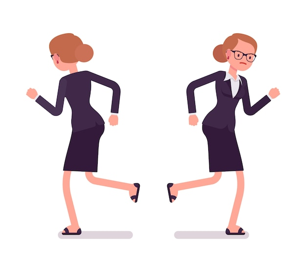 Bizneswoman w formalnej odzieży bieg, przód i tylni widok