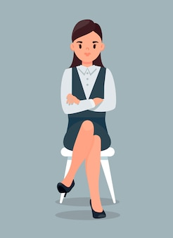 Bizneswoman w formalnym kostiumu flat illustratio