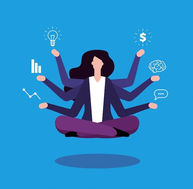 Bizneswoman wielozadaniowość. administrator menedżera biura wykonuje profesjonalne zadania.