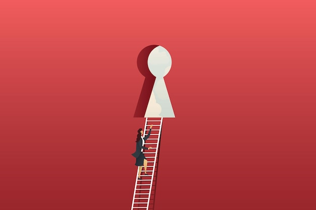 Bizneswoman wspinaczka po drabinie na czerwonej dużej ścianie do dziurki od klucza