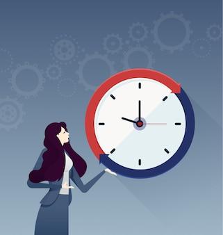 Bizneswoman z dużym zegarem. biznesowy pojęcie wektor
