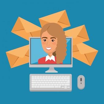 Bizneswoman z e-mailowymi marketingowymi ikonami
