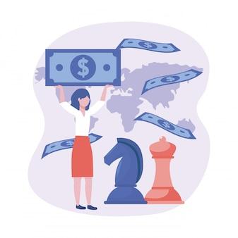 Bizneswoman z konia i królowej szachy z rachunkami