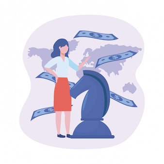 Bizneswoman z końskimi szachy i rachunkami z globalną mapą