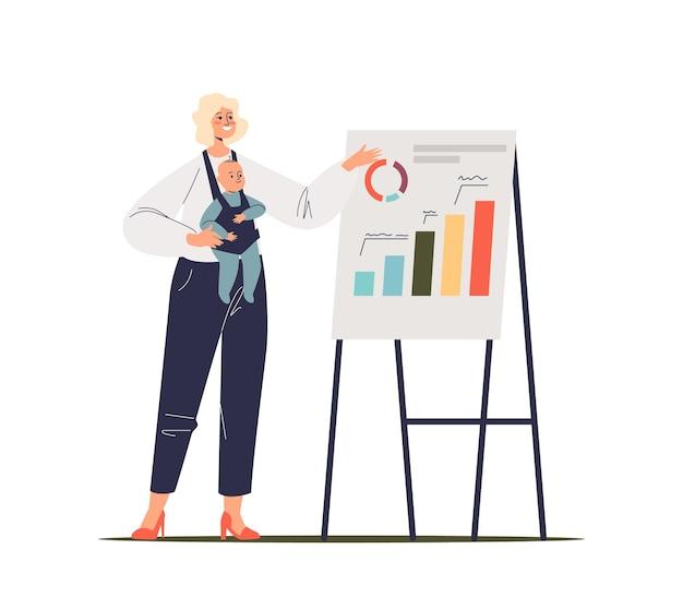 Bizneswoman z noworodkiem przedstawia nowy projekt, strategię rozwoju lub raport z wykresami finansowymi na flipcharcie. sukces matki w pracy. płaskie ilustracja kreskówka