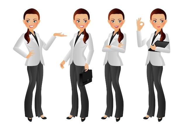 Bizneswoman z różnymi pozami