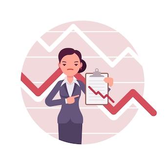 Bizneswoman z schowkiem. wykresy i wykresy negatywne