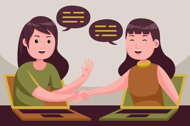 Bizneswoman zawiera umowę na odległość, praktycznie ściskając ręce na ekranach laptopów.
