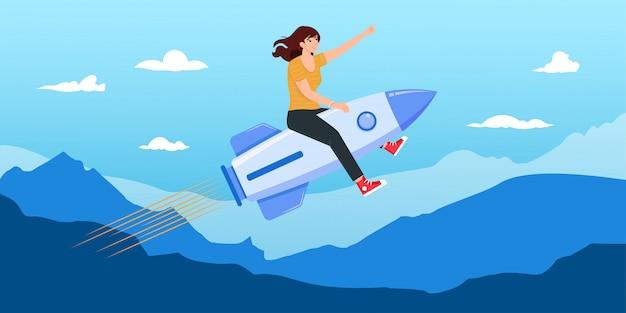 Bizneswomanu latanie na rakiecie na niebieskim niebie z góra wektoru ilustracją.
