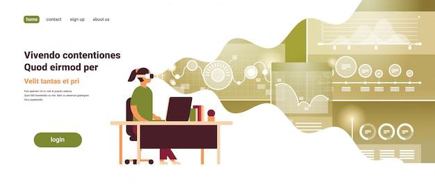 Bizneswomanu odzieży cyfrowi szkła online handlowa rzeczywistość wirtualna monitoruje pieniężnego wykresu diagrama vr wzroku słuchawki innowaci pojęcie